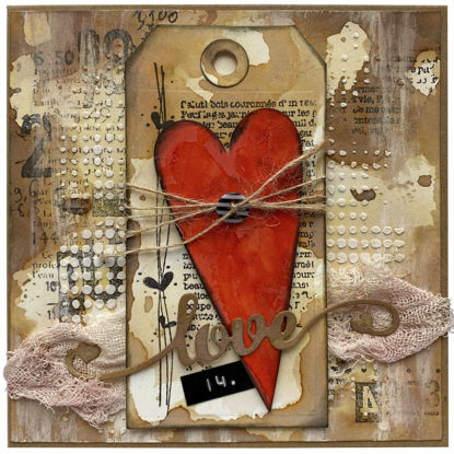 Obrázek Valentýnské přáníčko Srdce s knoflíčkem
