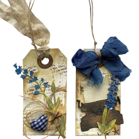 Obrázek Jmenovky na dárky (malé) Modré kvítí 4