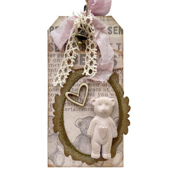 Visačka v krásných růžových barvách na ozdobení dárků, třeba k narození miminka