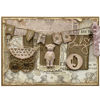 Roztomilé vintage přáníčko k narození dítěte v něžné růžové barvě