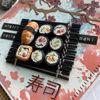 Ručně vyrobené přáníčko se sushi z polymeru
