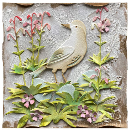 Obrázek Velikonoční přání Ptáček s růžovými květy