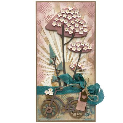 Originální přáníčko s rozkvetlými sakurami pro malé i velké cyklistky