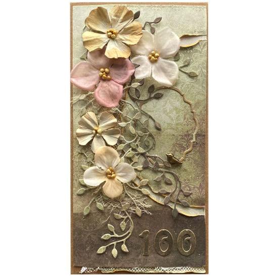 Obrázek Přání k 100. narozeninám Květy s ptáčkem