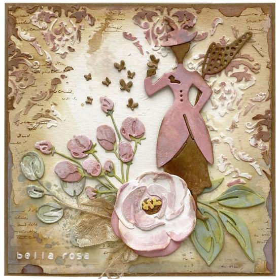 """Přáníčko s růží ve starorůžových barvách s nápisem """"Bella rosa"""" - krásná růže"""