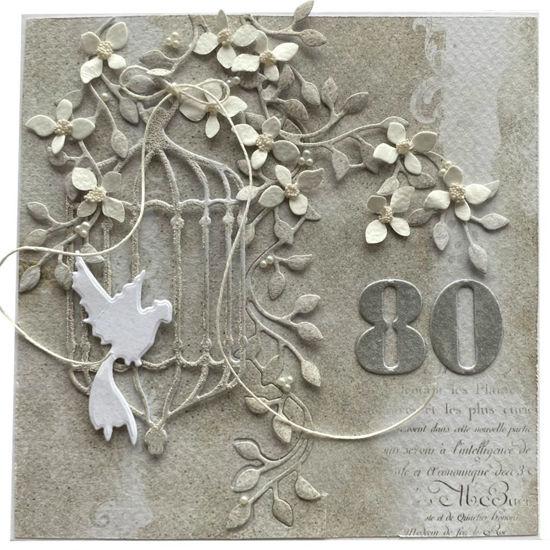 Obrázek Přáníčko k 80. narozeninám Klec s ptáčkem